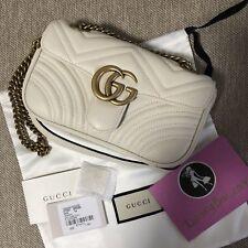 Gucci GG Mini Marmont White Leather Matelasse Shoulder Bag NEW