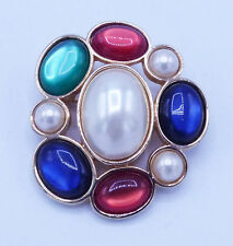 VINTAGE AVON FLOWER BLUE GREEN RED WHITE JELLY BELLY STL GLASS DEC FAUX PEARLS
