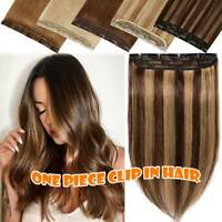 AAA+ Real Thick One Piece Clip in 3/4 Full Head Hair Extensions 100% Human Hair