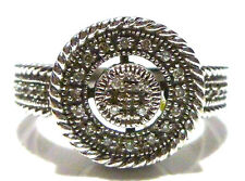 DESIGNER LESLIE GREAT STERLING SILVER & DIAMOND ROUND COCKTAIL RING SIZE 5.25