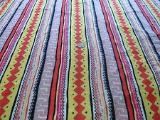 LIGHTWEIGHT VISCOSE JERSEY-BRIGHT ETHNIC STRIPE-DRESS FABRIC -4.4 METRES