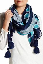 Roffe Accessories Sand Dollar Tassel Scarf Wrap Blue/Multi Flower Print, New $39
