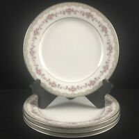 Set of 4 VTG Salad Plates Noritake Glenwood 5770 Pink Roses Platinum Japan