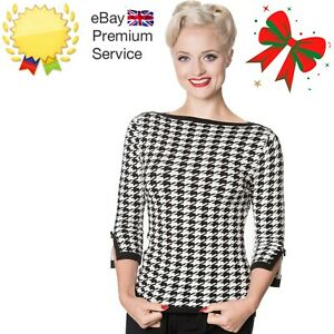 Women's Black White Retro Vintage Houndstooth Knitted Top Jumper BANNED Apparel