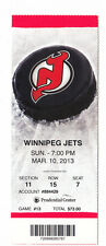 2013 NEW JERSEY DEVILS VS WINNIPEG JETS FULL TICKET STUB 3/10/13