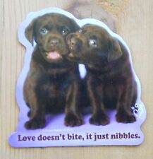 Leanin Tree Flex Magnet Chocolate Lab Puppies,Dogs Love Doesn't Bite it Nibbles