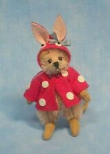 """DEB CANHAM  """"MONIQUE MOUSE"""" CREAM MOHAIR MOUSE WEARING BUNNY OUTFIT LIM ED 2013"""