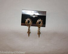 Antique Gold Look Earrings looks Coiled Rope w Spike    Pierced