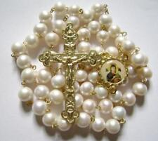 (AAA 10MM) Real Pearl BEADS GOLD ROSARY CROSS Rosary Necklace BOX CATHOLIC GIFTS