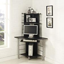 Home Office Corner Work Station Computer Desk Table PC Black Furniture