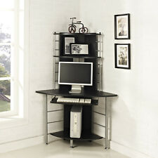 Home Office Corner Work Station Computer Desk Table PC Black Furniture New