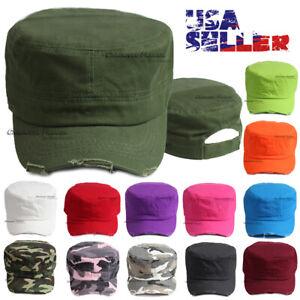 Cadet Hat Army Castro Baseball Cap Military Adjustable Distressed Solid Men Hats
