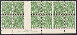 1927 - Ash Imprint (N over N)Blk 12,1d Green KGV Small Mul. wmk Perf 13 ½ plate
