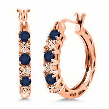 0.79 Ct Blue Sapphire G/H Lab Grown Diamond 18K Rose Gold Plated Silver Earrings