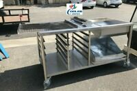 """NEW 66"""" Donuts Table Working Station W/ Glazing Dipper Sugar Pan Bottom Basket"""