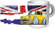 Koolart classico retrò biritish ceramica Tazza & a Ford Anglia 105E SUPER