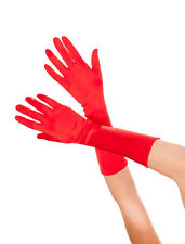 Bright Red Long Satin Gloves Sexy Lingerie P426