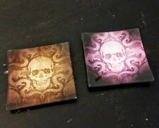 Skull & Dragon Glass Trays Set of 2 Decor Square Plate Tray Set - Lot of 6 Pairs