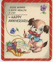 VINTAGE PUPPY DOG RED BOW TIE SCHOOL REPORT CARD GARDEN FLOWERS CARD ART PRINT