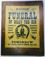 "FUNERAL OF  BILLY THE KID TOMORROW  PARCHMENT PAPER ON WOOD 14-1/2"" X  11-1/2"""