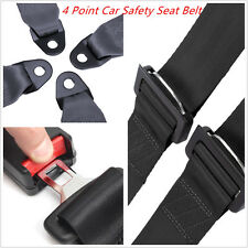 1X Vehicle Racing 4 Point Car Safety Seat Belt Buckle Harness Black Universal