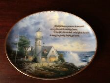 THOMAS KINKADE A LIGHT IN THE STORM OVAL PLATE. LIGHTHOUSES DECOR
