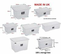 JMS® Large Big Plastic Storage Clear Box  Clear Lid Strong Stackable Container