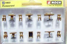"""HO 1:87 scale Noch  14822 """" Wood """" Restaurant Tables & Chairs"""