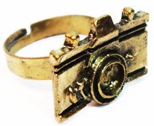 Anillos de mujer con cámara de fotos retro color oro antiguo moda camera ring