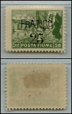 FIUME - 1919 - 50 cent Posta Fiume soprastampa FRANCO 25 (D82) - MH