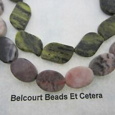 Jasper and Serpentine Gemstone Beads Authentic Stone Beads Green and Pale Pinks