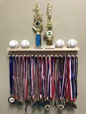 Award Medal Display Rack And Trophy Shelf Premium 18 Medals Ball Holder MADE USA