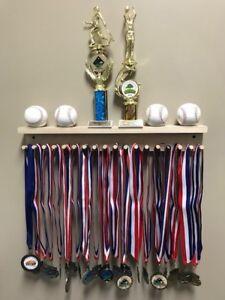 Award Medal Display Rack Trophy Shelf 18 / 36 Medals Ball Holder Natural Wood