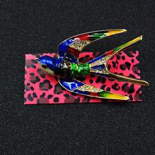 Bird Charm Brooch Pin Gift Betsey Johnson Colorful Rhinestone Crystal Swallow