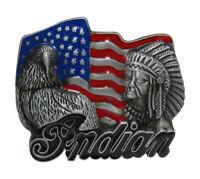 Boucle de ceinture émaillé drapeau USA avec aigle et tête d' indien.