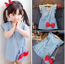 Toddler Kids Baby Girl Denim Blue Summer Dress Outfit Clothes 2PCS Set Bag UK