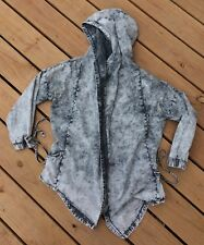 Jeans Colony Jacket L Hoodie Black Gray Mottled Acid Open Front Deconstructed