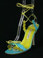 MANOLO BLAHNIK Turquoise & Chartreuse Scallop Edge Lace-Up Sandals 41