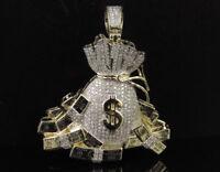 2.5Ct Round Cut Diamond Money Bag and Bundles Pendant 14K Yellow Gold Finish
