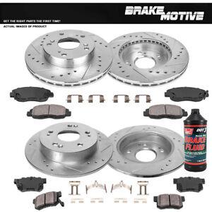 Front+Rear Drill Brake Rotors And Ceramic Pads For 2006 - 2010 2011 Honda Civic