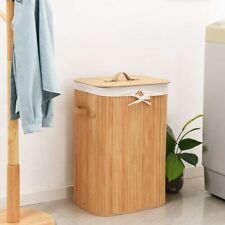 Bamboo Laundry Hamper Laundry Storage Basket with Removable Lid Liners Natural