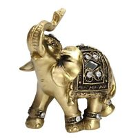 """Feng Shui 7"""" Gold Elephant Trunk Statue Wealth Lucky Figurine Gift Home Decor"""