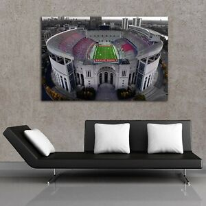 Ohio State Football Stadium Colored Drone Shot Original Art by Memento 3 sizes