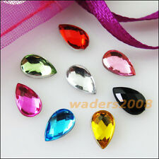 300 New Charms Mixed Teardrop Faceted Acrylic Rhinestone Flat Back 4x6mm
