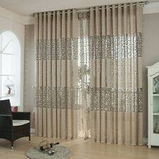 Grey Leaves Striped Jacquard Sheer Curtains 84 63 inches Tulle Valance Lace