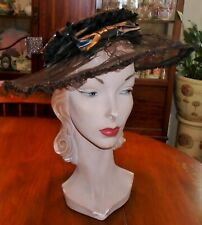 Antique Victorian Edwardian Black Wide Brim Wired Pancake Hat Sequin Crown As Is