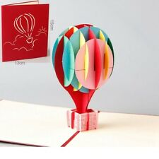 3D Hot Air Balloon Card~ Thank You Happy Birthday Invitation Popup Greeting Card
