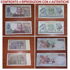 4 RIPRODUZIONI 100000 CARAVAGGIO 2000 GALILEI 1000 VERDI 500 ARETUSA LIRA REGALO