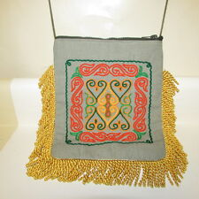 Boho Crossbody Embroidered Fabric Bag Messenger Yellow Gold Fringe