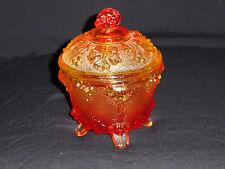 ORANGE & YELLOW PRESSED GLASS 4 FOOTED COVERED BOWL